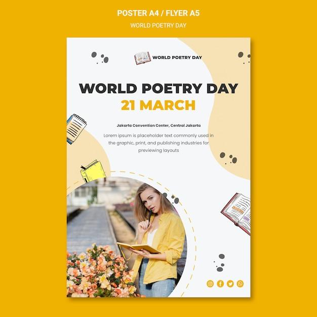 Modèle D'affiche De La Journée Mondiale De La Poésie Psd gratuit