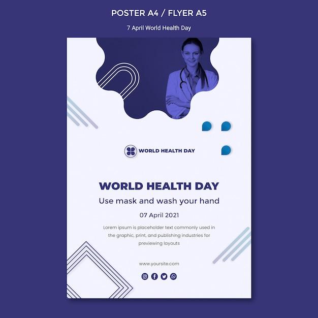 Modèle D'affiche De La Journée Mondiale De La Santé Psd gratuit