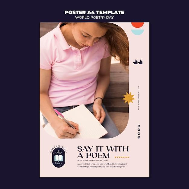 Modèle D'affiche De La Journée De La Poésie Psd gratuit
