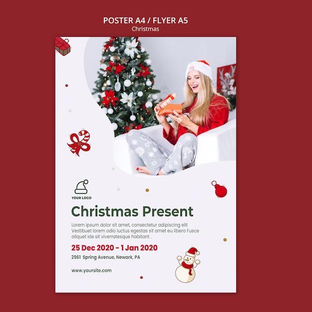 Modèle D'affiche De Magasin De Cadeaux De Noël Psd gratuit