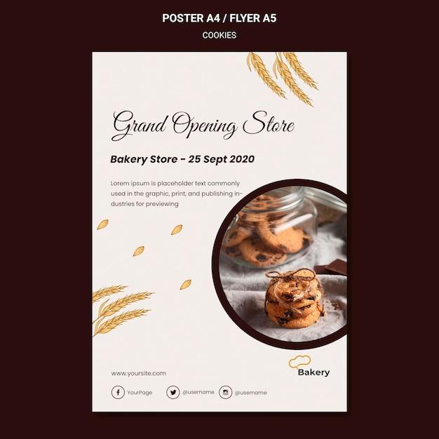 Modèle D'affiche De Magasin De Cookies Psd gratuit