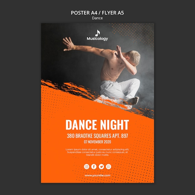Modèle D'affiche De Musicologie De Nuit De Danse Psd gratuit