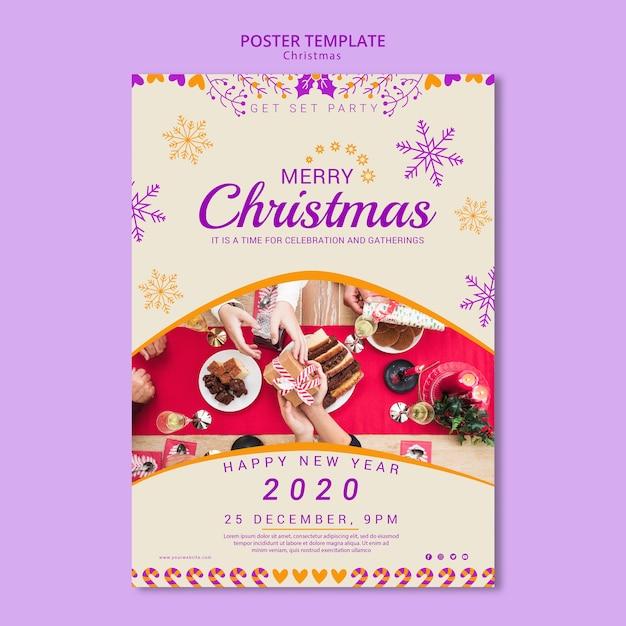 Modèle D'affiche De Noël Avec Photo Psd gratuit