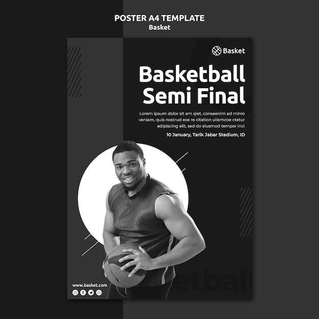 Modèle D'affiche En Noir Et Blanc Avec Un Athlète De Basket-ball Masculin Psd gratuit
