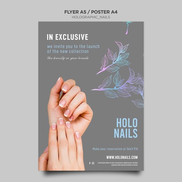 Modèle D'affiche Ongles Holographiques Psd gratuit