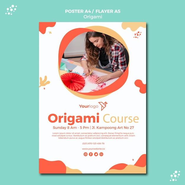 Modèle D'affiche Origami Psd gratuit