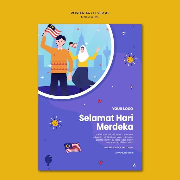 Modèle D'affiche De Personnes Détenant Des Drapeaux Malaisiens Psd gratuit