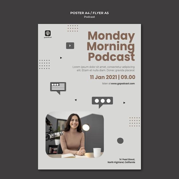 Modèle D'affiche De Podcast Avec Photo Psd gratuit