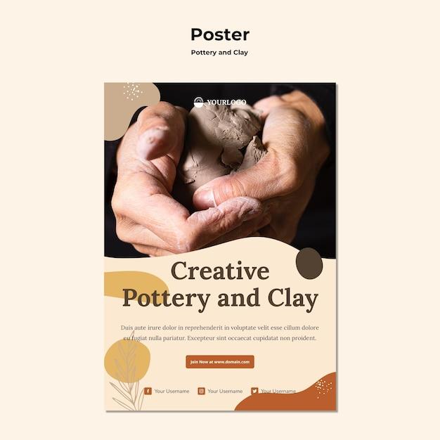 Modèle D'affiche De Poterie Et D'argile Psd gratuit