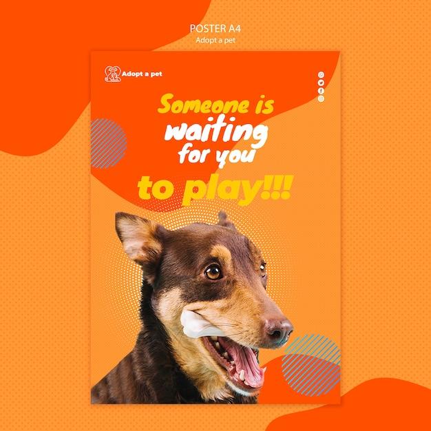 Modèle D'affiche Pour L'adoption D'animaux De Compagnie à Partir D'un Refuge Psd gratuit