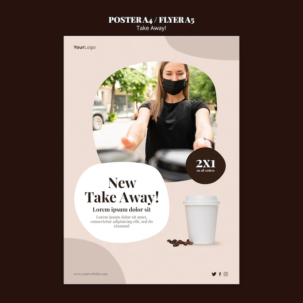 Modèle D'affiche Pour Le Café à Emporter Psd gratuit