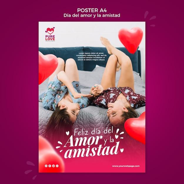 Modèle D'affiche Pour La Célébration De La Saint-valentin Psd gratuit