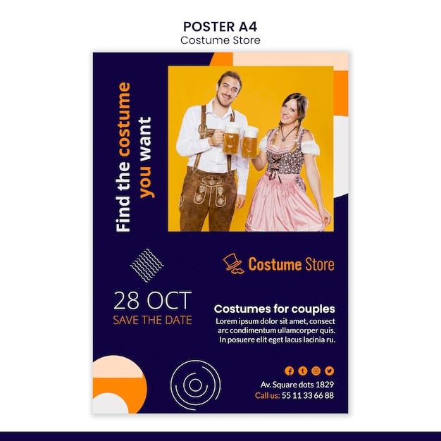 Modèle D'affiche Pour Les Costumes D'halloween Psd gratuit
