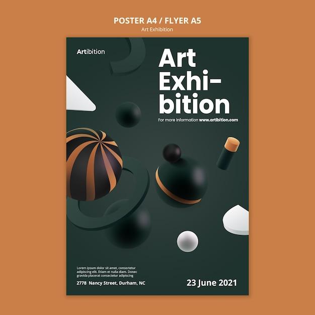 Modèle D'affiche Pour Une Exposition D'art Avec Des Formes Géométriques Psd gratuit