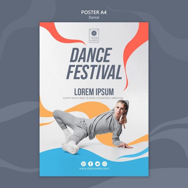 Modèle D'affiche Pour Le Festival De Danse Avec Interprète Psd gratuit