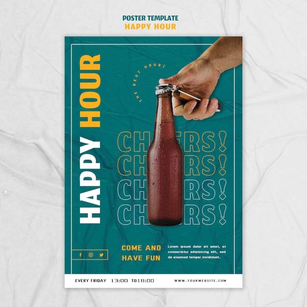 Modèle D'affiche Pour L'happy Hour Psd gratuit