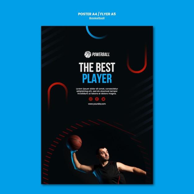 Modèle D'affiche Pour Le Jeu De Basket-ball Psd gratuit