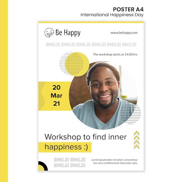 Modèle D'affiche Pour La Journée Internationale Du Bonheur Psd gratuit