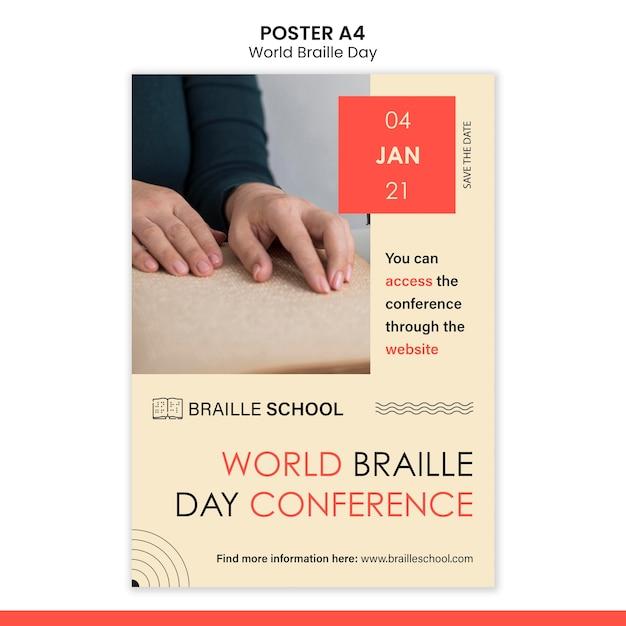 Modèle D'affiche Pour La Journée Mondiale Du Braille Psd gratuit