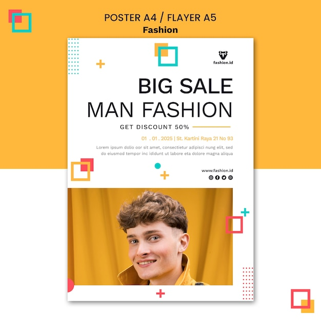 Modèle D'affiche Pour La Mode Avec Un Modèle Masculin Psd gratuit