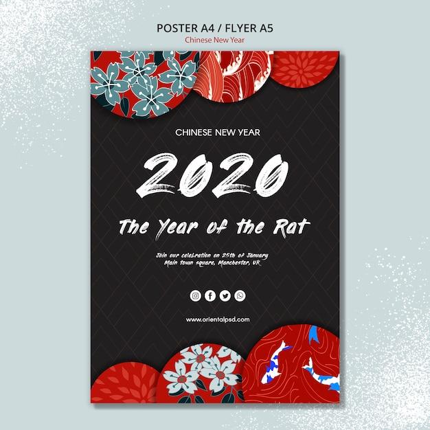Modèle d'affiche pour le nouvel an chinois Psd gratuit