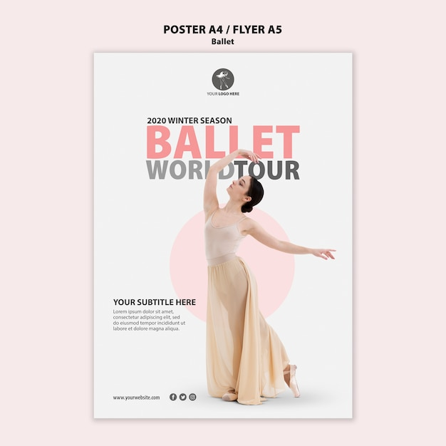 Modèle D'affiche Pour La Performance De Ballet Psd gratuit
