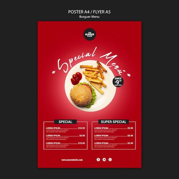 Modèle D'affiche Pour Restaurant Burger Psd gratuit