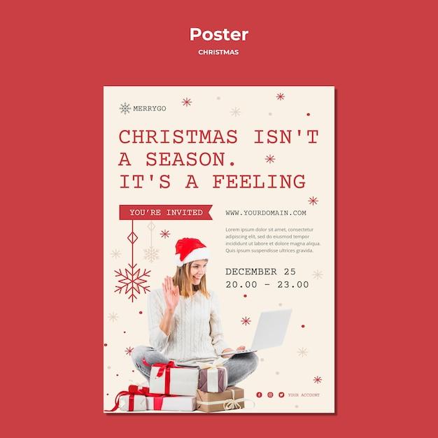 Modèle D'affiche Pour La Vente De Noël Psd gratuit