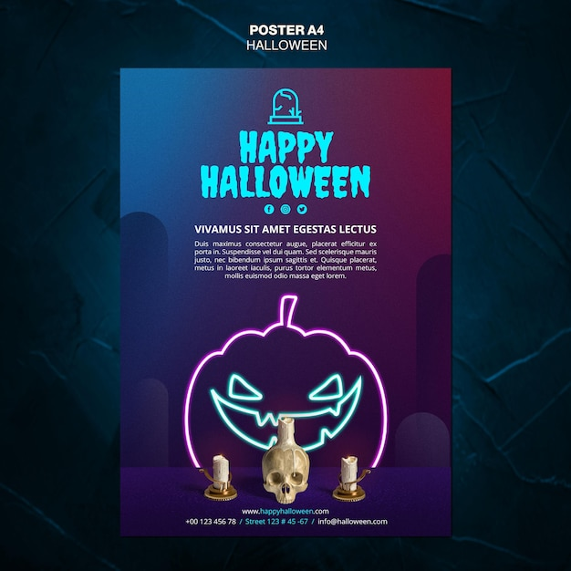 Modèle D'affiche Publicitaire événement Halloween Psd gratuit