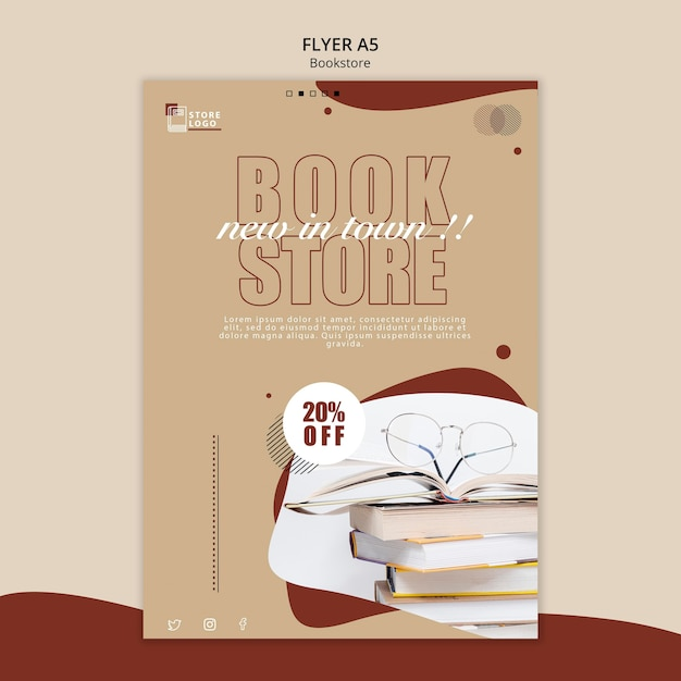 Modèle D'affiche Publicitaire De Librairie Psd gratuit