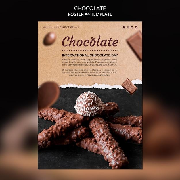 Modèle D'affiche Publicitaire De Magasin De Chocolat Psd gratuit