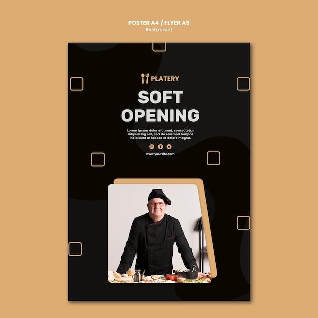 Modèle D'affiche De Restaurant à Ouverture Douce Psd gratuit