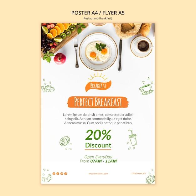 Modèle D'affiche De Restaurant De Petit Déjeuner Parfait Psd gratuit