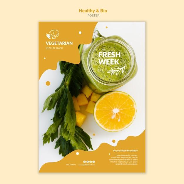 Modèle D'affiche De Restaurant Végétarien Psd gratuit