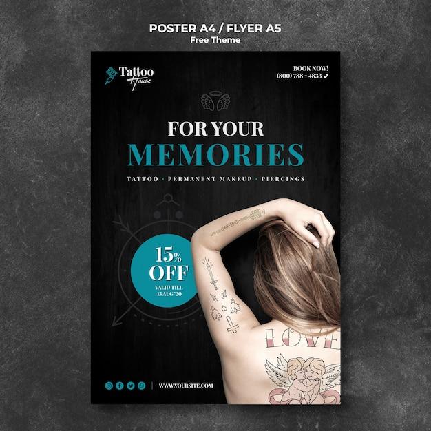 Modèle D'affiche De Studio De Tatouage Professionnel Psd gratuit