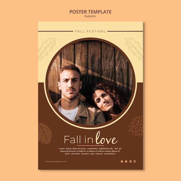 Modèle D'affiche Tomber Amoureux à L'automne Psd gratuit