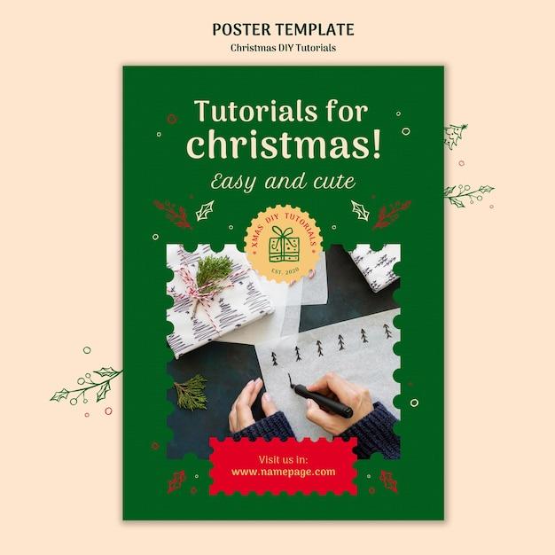 Modèle D'affiche De Tutoriel De Noël Bricolage Psd gratuit