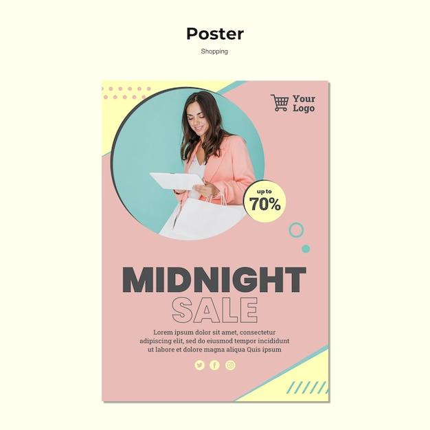 Modèle D'affiche De Vente De Minuit Shopping Psd gratuit
