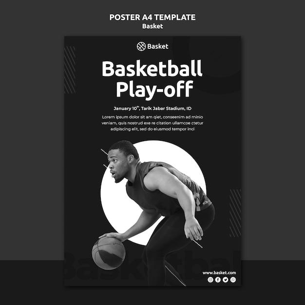 Modèle D'affiche Verticale En Noir Et Blanc Avec Un Athlète De Basket-ball Masculin Psd gratuit