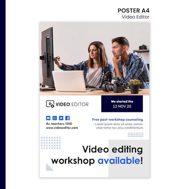 Modèle D'affiche Verticale Pour L'atelier De Montage Vidéo Psd gratuit