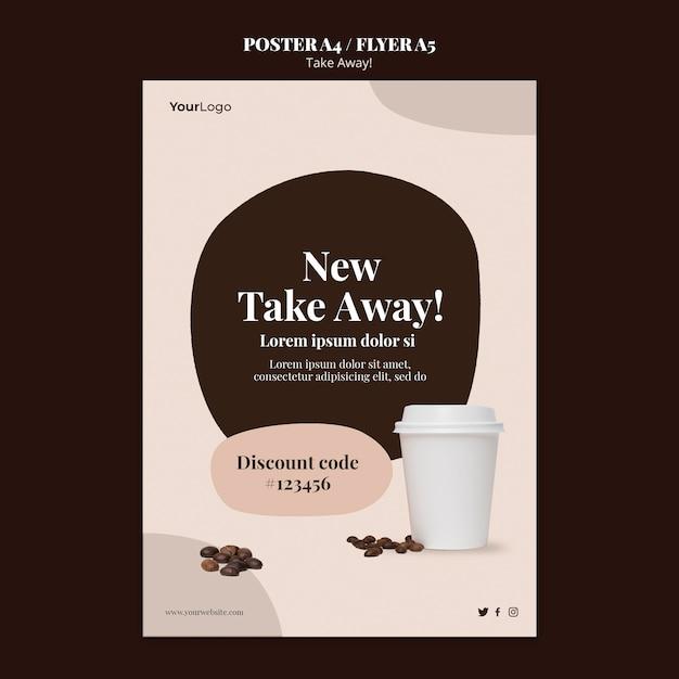 Modèle D'affiche Verticale Pour Café à Emporter Psd gratuit