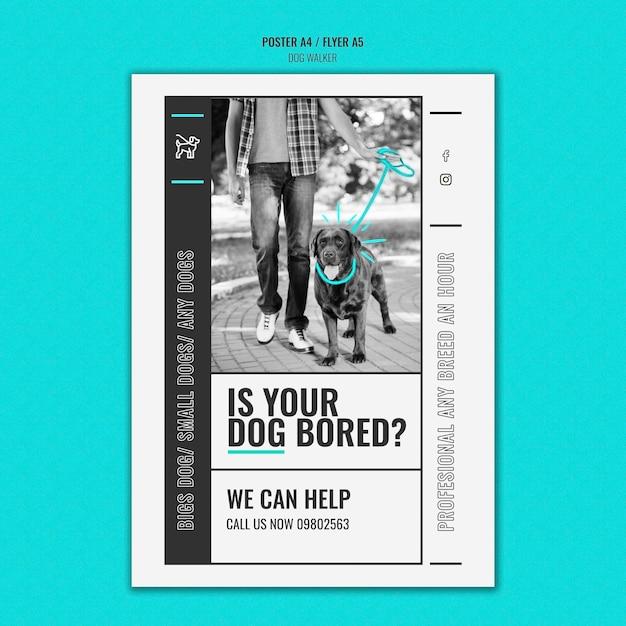 Modèle D'affiche Verticale Pour Entreprise De Promenade De Chien Professionnelle Psd gratuit