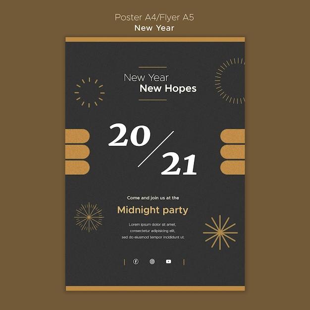 Modèle D'affiche Verticale Pour La Fête Du Nouvel An à Minuit Psd gratuit
