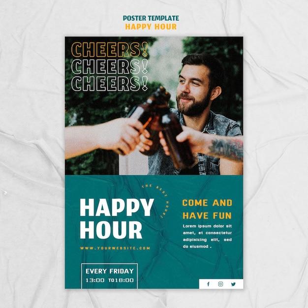 Modèle D'affiche Verticale Pour L'happy Hour Psd gratuit