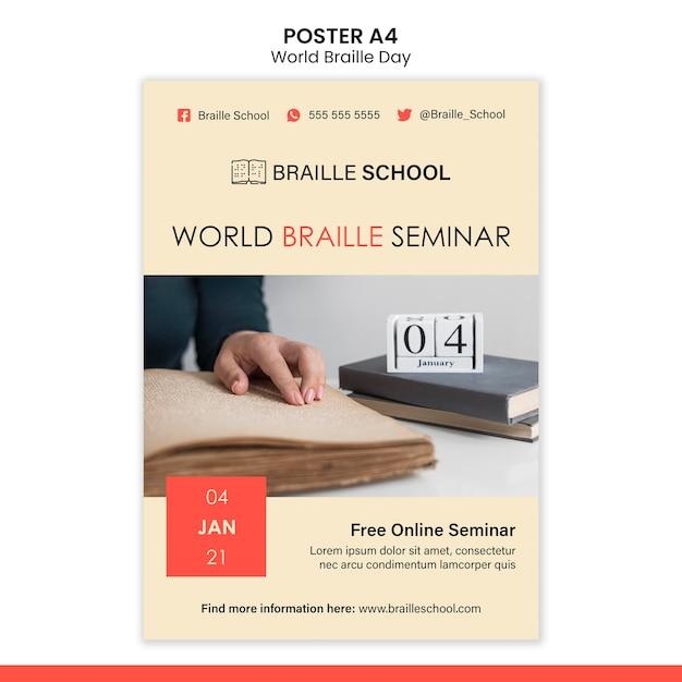 Modèle D'affiche Verticale Pour La Journée Mondiale Du Braille Psd gratuit
