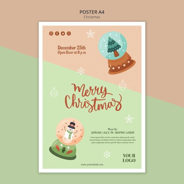 Modèle D'affiche Verticale Pour Noël Avec Des Boules à Neige Psd gratuit