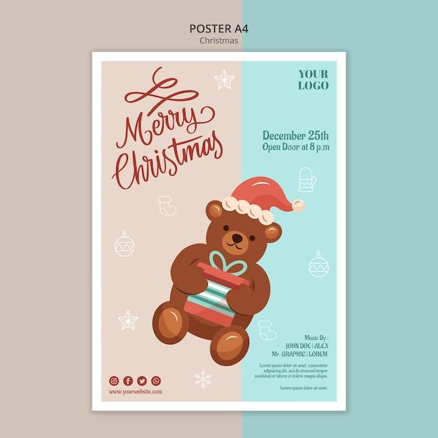 Modèle D'affiche Verticale Pour Noël Avec Ours Psd gratuit