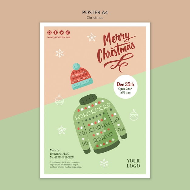 Modèle D'affiche Verticale Pour Noël Avec Pull Psd gratuit
