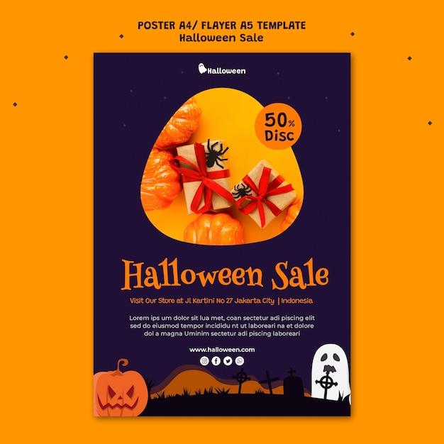 Modèle D'affiche Verticale Pour La Vente D'halloween Psd gratuit