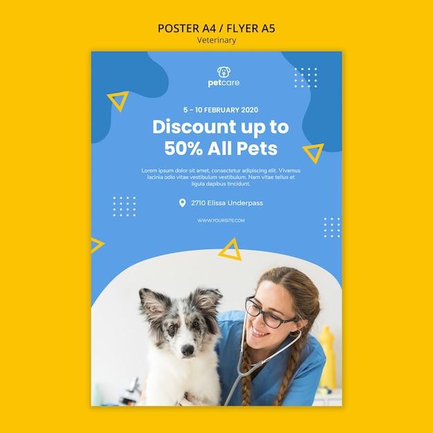 Modèle D'affiche Vétérinaire Pour Tous Les Animaux De Compagnie Psd gratuit